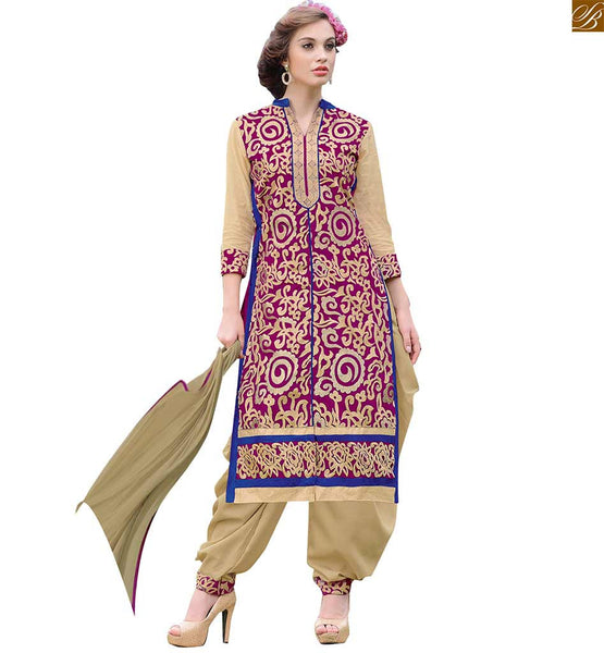 Punjabi dress pattern suit salwar kameez casual wear for women pink chanderi straight cut salwar kameez with border on lower part and beige santoon patiala bottom Image