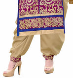 Pink chanderi straight cut salwar kameez with border on lower part and beige santoon patiala bottom Pic
