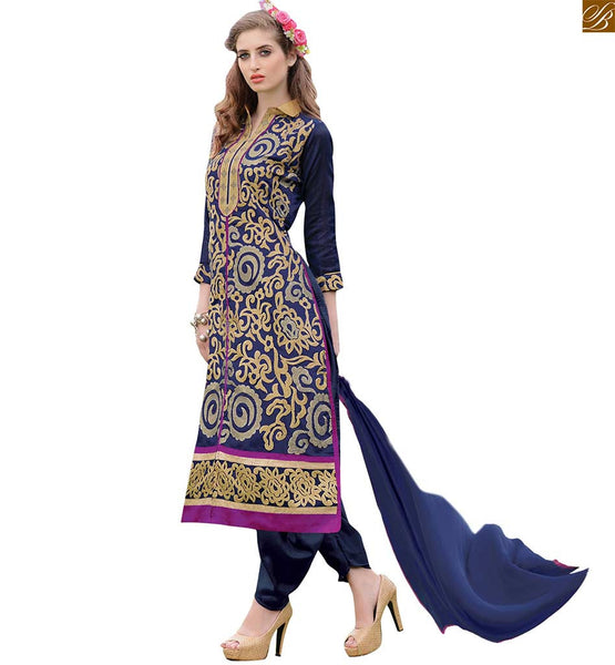 New punjabi suit design 2015 sober and simple salwar kameez navy-blue chanderi servani type straight cut salwar kameez with matching santoon patiala style bottom Image