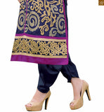Navy-blue chanderi servani type straight cut salwar kameez with matching santoon patiala style bottom Pic