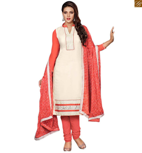 Kameez shalwar punjabi salwar suit designs catalogue style white cotton high neck designer shalwar with embroidered patch work and red cotton churidar bottom Image