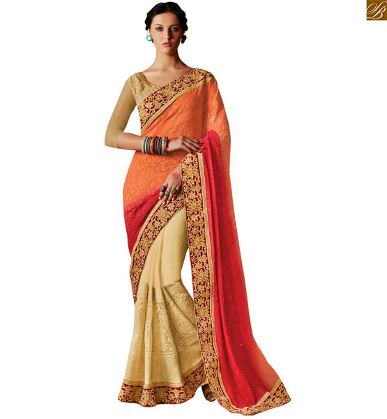 STYLISH BAZAR SHADED ORANGE-RED AND CREAM COLORED SAREE WITH A LOVELY DESIGNER BLOUSE ANRF49