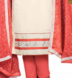 White cotton high neck designer shalwar with embroidered patch work and red cotton churidar bottomc Photo