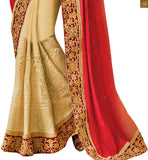 FROM THE HOUSE OF SHADED ORANGE-RED AND CREAM COLORED SAREE WITH A LOVELY DESIGNER BLOUSE ANRF49