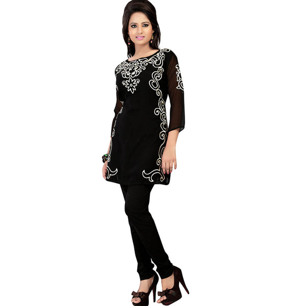 BEAUTIFUL BLACK DESIGNER GEORGETTE KURTI RTAK4C