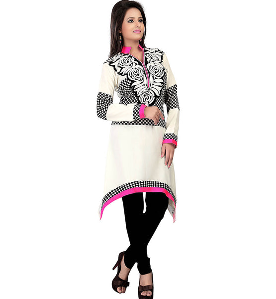 STRIKING CREAM COLOR GEORGETTE KURTI RTAK4D