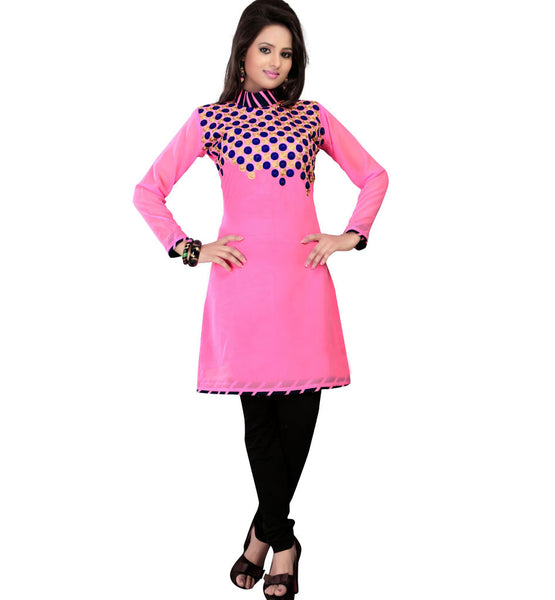 PLEASING PINK COLOR TRENDY GEORGETTE KURTI RTAK4E