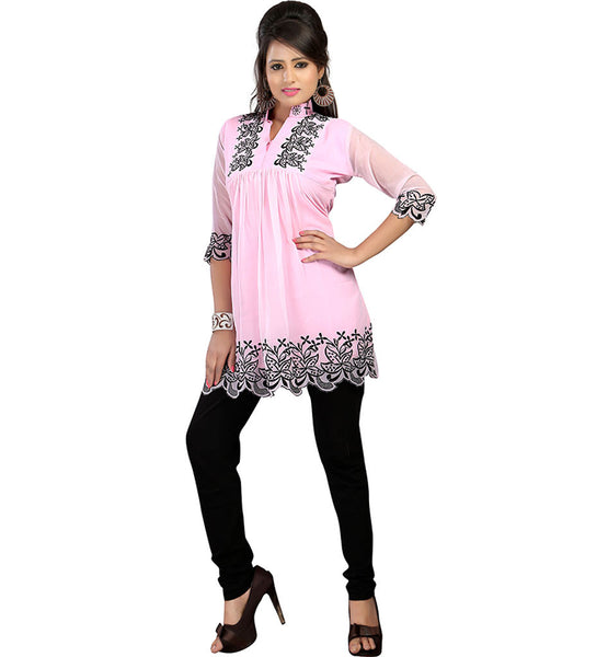 LOVELY LIGHT PINK COLOR DESIGNER GEORGETTE KURTI RTAK4F