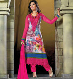 BUY ONLINE EMBROIDERED & PRINTED PARTY WEAR GEORGETTE SALWAR SUIT PINK & BLUE