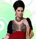 Black & Maroon party wear cotton salwar kameez
