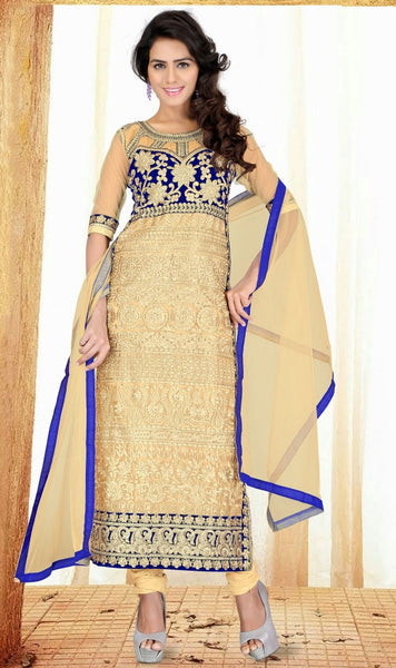 DESIGNER STRAIGHT CUT SALWARSUIT WITH STUNNING NECKLINE DESIGNING