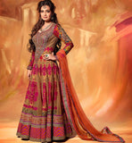 DIA MIRZA IN ORANGE FLOOR LENGTH ANARKALI SALWAR KAMEEZ DRESS