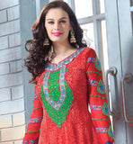 FLORAL PRINT LONG SALWAR KAMEEZ DRESS CROSIA LACE BORDER & EMBROIDERY
