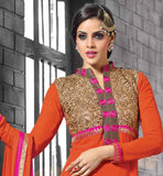 OUT-STANDING ORANGE SALWAR-SUIT WITH HEAVY EMBROIDERY ON NECK EXCELLENT STYLE