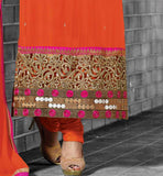 OUT STANDING ORANGE  PARTY WEAR STRAIGHT CUT SALWAR SUIT  WITH ORANGE  SALWAR AND NAZNEEN DUPATTA