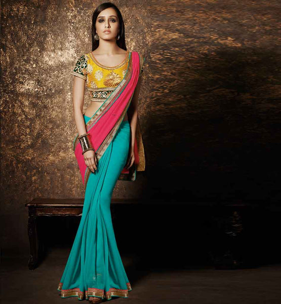 SAREES ONLINE SHOPPING LOW PRICE GEORGETTE PALLU EMBROIDERED BLOUSE