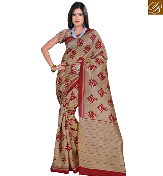 STYLISH BAZAAR PRESENTS ELEGANT LEAF PRINT CREAM SAREE FOR PARTIES RTVAN4