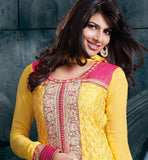 HEAVY EMBROIDERY PURE GEORGETTE WEDDING WEAR YELLOW DRESS