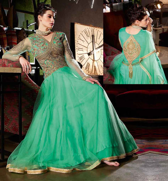 SHOP ONLINE EVER STYLISH FLOOR LENGTH GOWN FOR WOMEN  GLAMOROUS GREEN SOFT-NET SUIT WITH SANTOON INNER AND CHIFFON DUPATTA