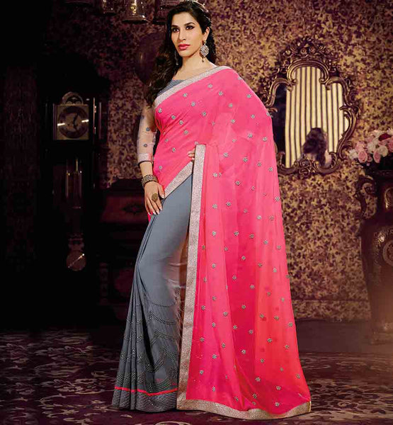 LATEST BOLLYWOOD SAREE BLOUSE DESIGNS COLLECTION SOPHIE CHAUDHARY GREY AND PINK  RICH FLORAL BUTTA, EMBROIDERY AND LACE BORDER SAREE
