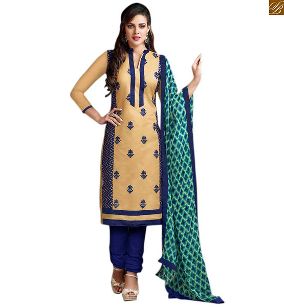 Stylish ladies suits simple salwar kameez design for daily wear chikoo cotton chinese collar pattern dress with new look patch work and blue cotton churidar bottom Image