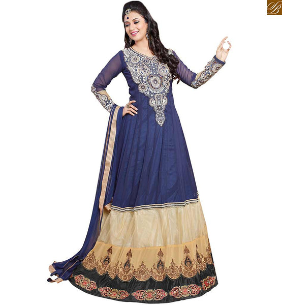 Image of 2015 dresses indian salwar kameez designs best suits india navy-blue and cream georgette heavy floral embroidered kameez with matching santoon bottom