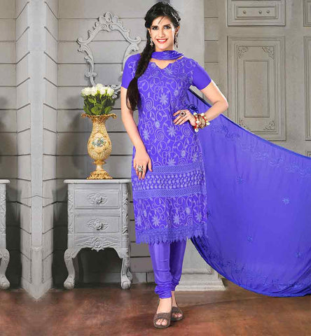 LATEST STRAIGHT CUT SALWAR KAMEEZ FOR WOMEN  BEAUTIFUL BLUE CHIFFON DRESS WITH MATCHING SANTOON SALWAR AND DUPATTA
