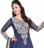 Photo of Collection of 2015 dresses indian salwar kameez designs with decent best suits india navy-blue and cream georgette heavy floral embroidered kameez with matching santoon bottom