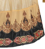 Image of Navy-blue and cream georgette heavy floral embroidered kameez with matching santoon bottom