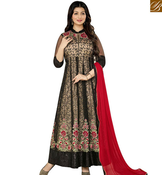 STYLISH BAZAAR BOLLYWOOD CELEBRITY AYESHA TAKIA BLACK COLORED GEORGETTE NET EMBROIDERED DESIGNER ANARKALI SALWAR KAMEEZ AASH5001