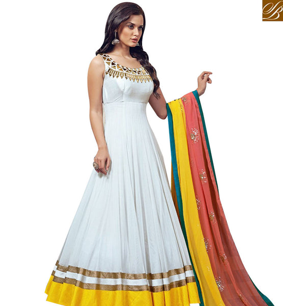 STYLISH BAZAAR CAPTIVATING OFF WHITE GEORGETTE NET ANARKALI SALWAR SUIT WITH YELLOW LACE ABSHE5001