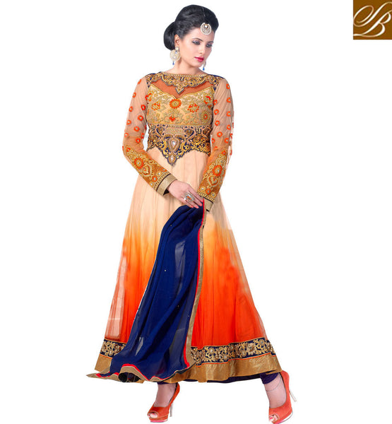 DESIGNER ORANGE AND CREAM NET ANARKALI RTCN5001 - STYLISHBAZAAR - Diwali Shopping, Deepawali Shopping, Diwali 2014, Festive Trends 2014, Ganesh Chaturthi, Navratri, New Year, Nav Varsh, Bhai Bij, Bhai Duj, Raksha Bandhan, Garba, Dandia, anarkali shopping online, anarkali suit online shopping, anarkali dress online shopping, online anarkali dresses shopping, online anarkali suits shopping