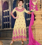 CREAM PARTY WEAR DRESS RTJHA5001