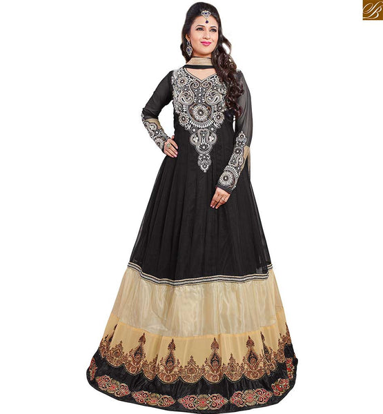 Image of Buy indian salwar kameez online shopping at cheapest price black and cream semi-georgette kerry style embroidered kameez with black simple santoon bottom