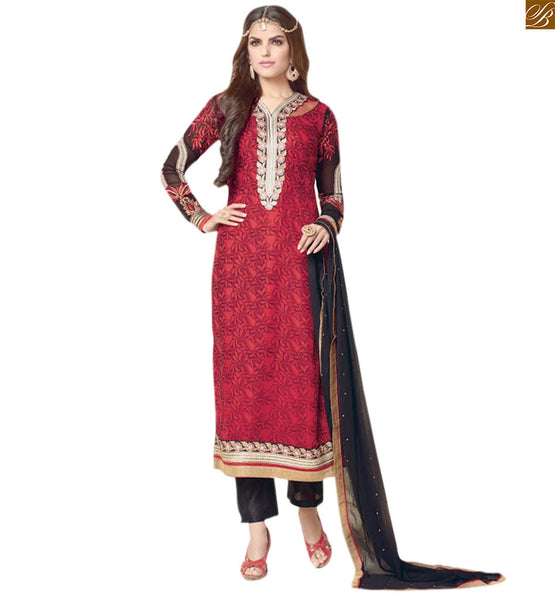 Latest dress style salwar kameez designs catalogue suit red georgette embroidered neck line salwar kameez with border line work and black brocket bottom Image to