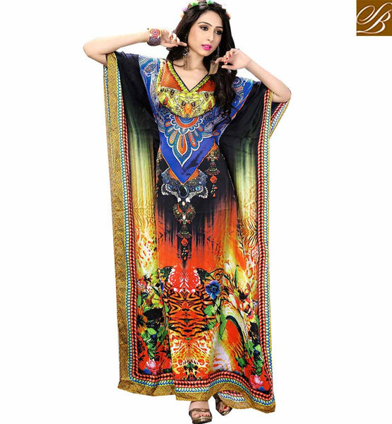 BROUGHT TO YOU BY STYLISH BAZAAR PREMIUM DIGITAL PRINTED MULTICOLORED KAFTAN SKKF5002