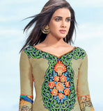 STUNNING GREEN COTTON EMBROIDERED DRESS MATERIAL WITH PRINTED BACK