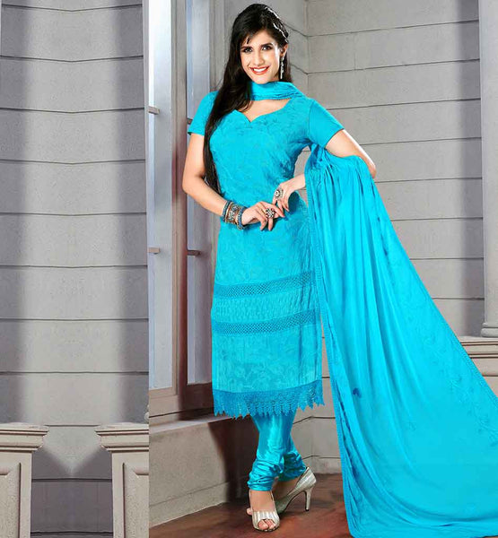 BUY EVERSTYLISH DESIGNER SALWAR KAMEEZ ONLINE AWESOME RAMA SHADE DRESS WITH MATCHING SANTOON SALWAR AND DUPATTA