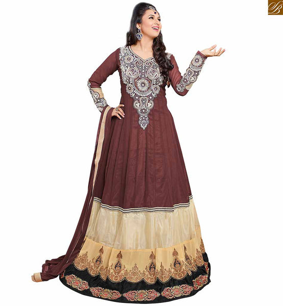 Image of Stylish churidar neck patterns of long kameez designs dresses brown and cream semi-georgette embroidered long sleeves kameez with brown santoon bottom