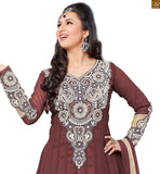 Photo of Up-to-date stylish churidar neck patterns of long kameez designs dresses for every party and occasion brown and cream semi-georgette embroidered long sleeves kameez with brown santoon bottom