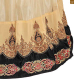 Image of Brown and cream semi-georgette embroidered long sleeves kameez with brown santoon bottom