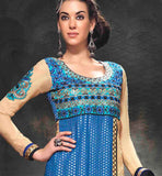 EXCELLENT STRAIGHT FIT SALWAR KAMEEZ WITH CONTRAST CHIFFON DUPATTA