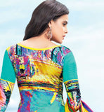 BEAUTIFUL BLUE COTTON EMBROIDERED DRESS MATERIAL WITH PRINTED BACK