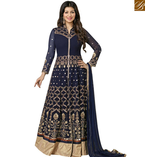 STYLISH BAZAAR AYESHA TAKIA MARVELOUS NAVY BLUE COLORED GEORGETTE EMBROIDERED DESIGNER ANARKALI SALWAR KAMEEZ AASH5003