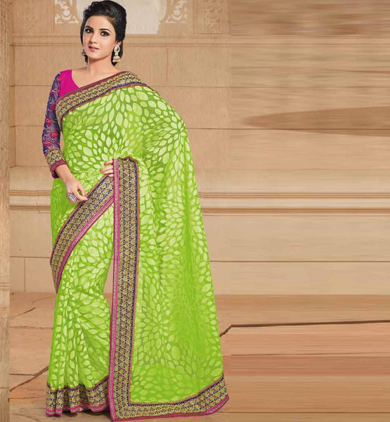 GREEN PARTY WEAR SARI RTTAP5003
