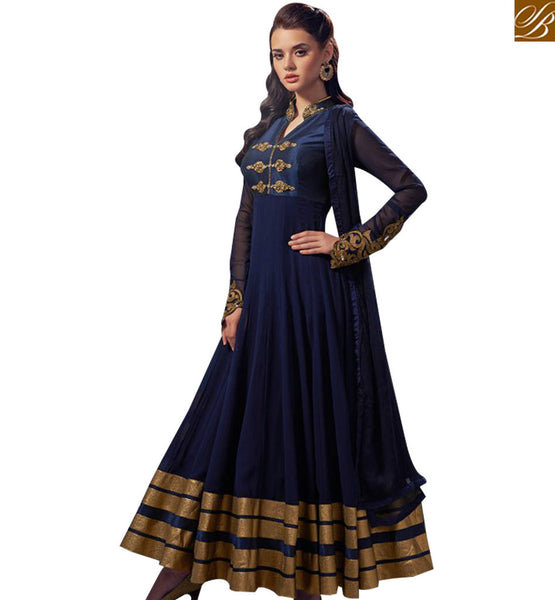 STYLISH BAZAAR OUTSTANDING NAVY BLUE GEORGETTE NET ANARKALI SALWAR SUIT WITH PATCH WORK ON  SLEEVES ABSHE5003