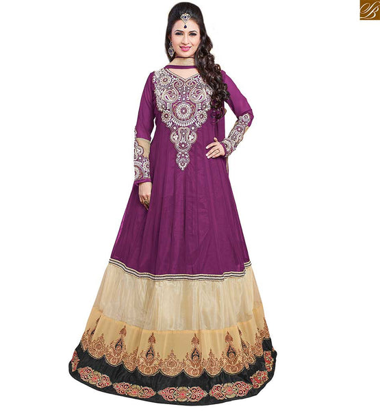 Image of Full length kameez neck designs salwar pattern long dress violet and cream semi-georgette kerry style embroidered salwar kameez with matching santoon bottom