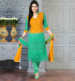PURCHASE DESIGNER SALWAR KAMEEZ ONLINE SHOPPING  SHADED ORANGE AND GREEN CHIFFON DRESS WITH SANTOON SALWAR AND DUPATTA
