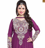 Photo of Beautiful full length kameez neck designs salwar pattern long dress for indian party style violet and cream semi-georgette kerry style embroidered salwar kameez with matching santoon bottom