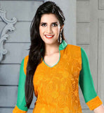SHADED ORANGE AND GREEN CHIFFON DRESS WITH SANTOON SALWAR AND DUPATTA EXCEPTIONAL NECK DESIGN, RESHAM EMBROIDERY WORK CROSIA LACE BORDER AND SHADED ODHNI
